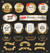Retro golden labels and badges vector collection