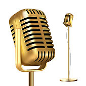 Retro Golden Microphone With Stand Vector. Record Stage. Live Concert. On Air. Illustration