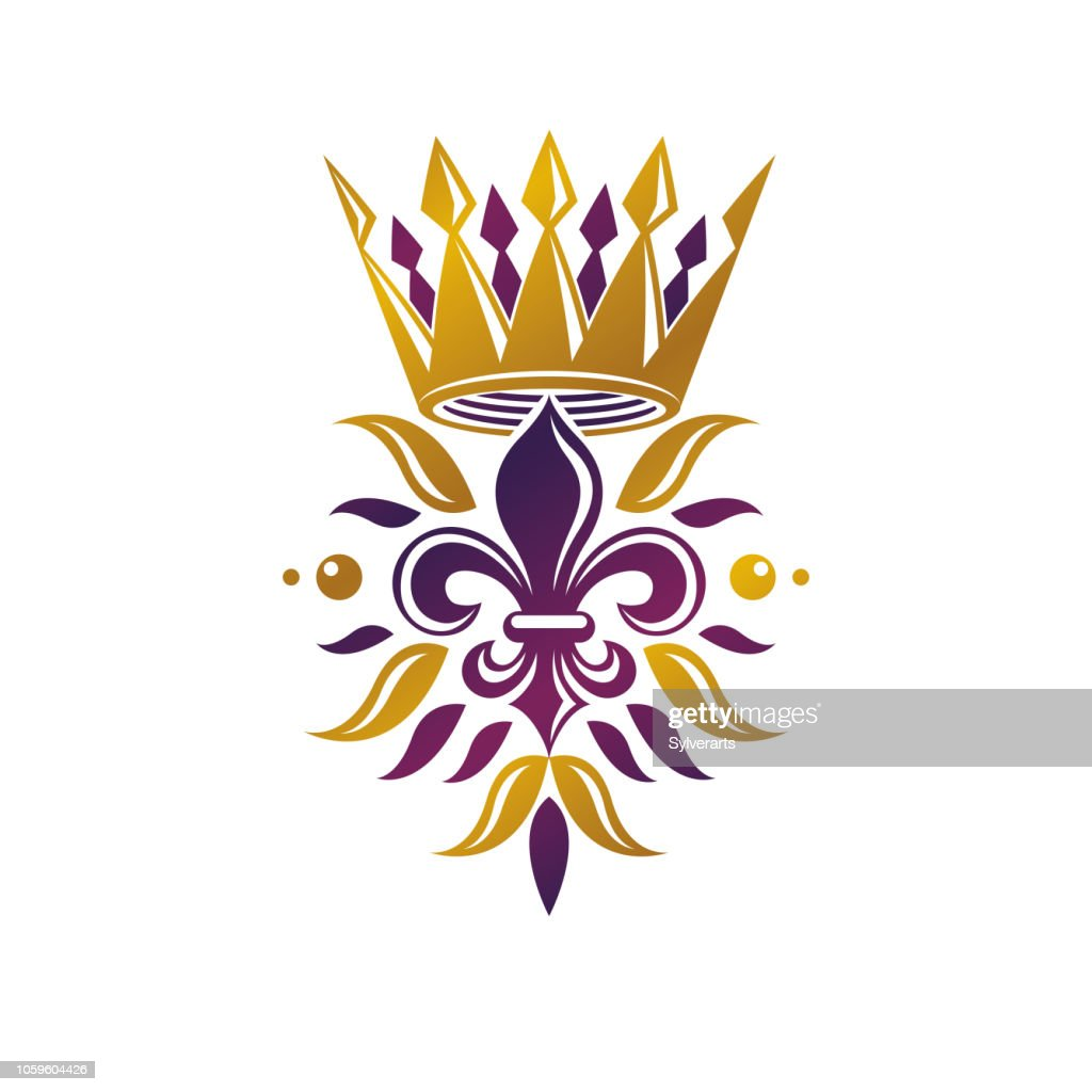 Retro golden vintage Insignia created with lily flower and imperial crown. Vector quality idea design element, Fleur-De-Lis.