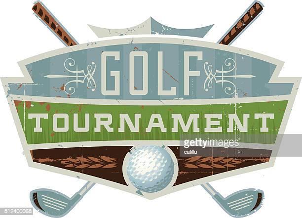 ilustrações de stock, clip art, desenhos animados e ícones de retrô emblema do torneio de golfe - golf tournament