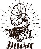 Retro gramophone. Music concept. Vintage sketch vector illustration