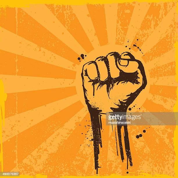 retro grunge fist background - revolution stock illustrations, clip art, cartoons, & icons