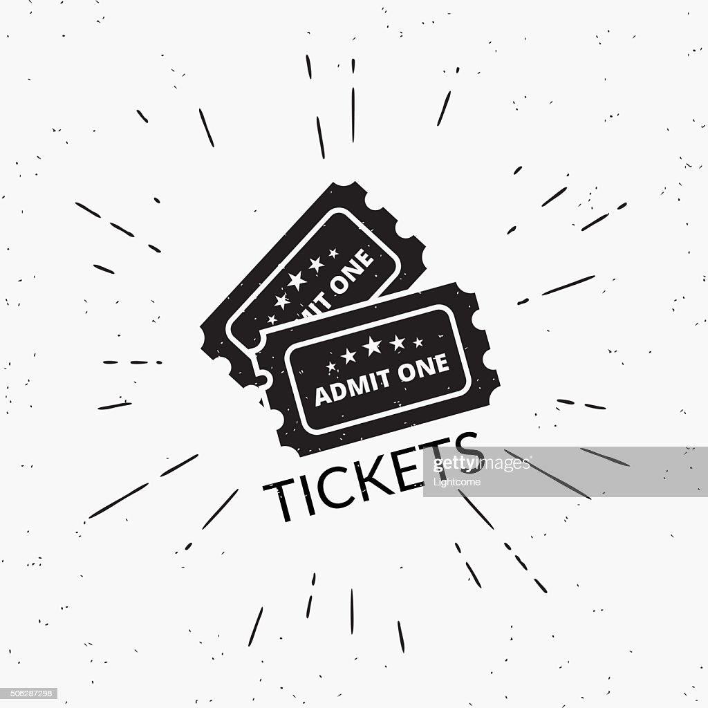 Retro grunge illustration of two black tickets