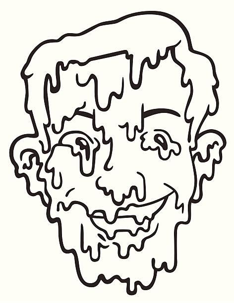 retro guy - melting face - melting stock illustrations