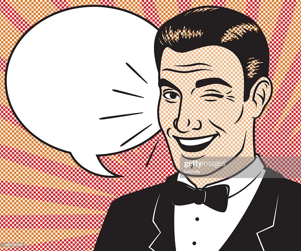 Retro Halftone Comic Book Character with Speech Bubble : stock illustration