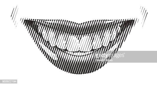 Retro Halftone gravure vrouwelijke glimlach