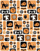 Retro Halloween Repeat Pattern with Polka Dots