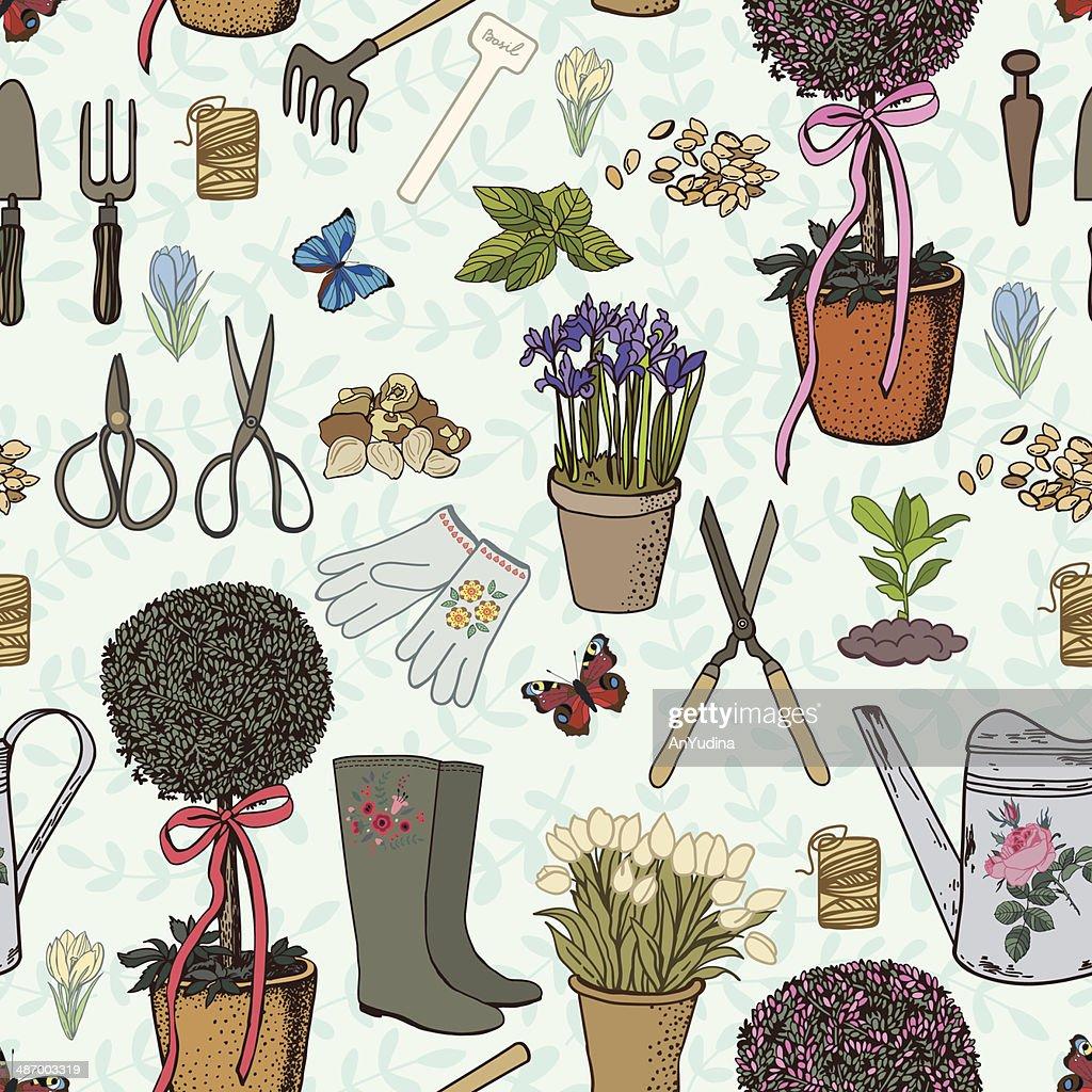 Retro  hand drawing garden pattern