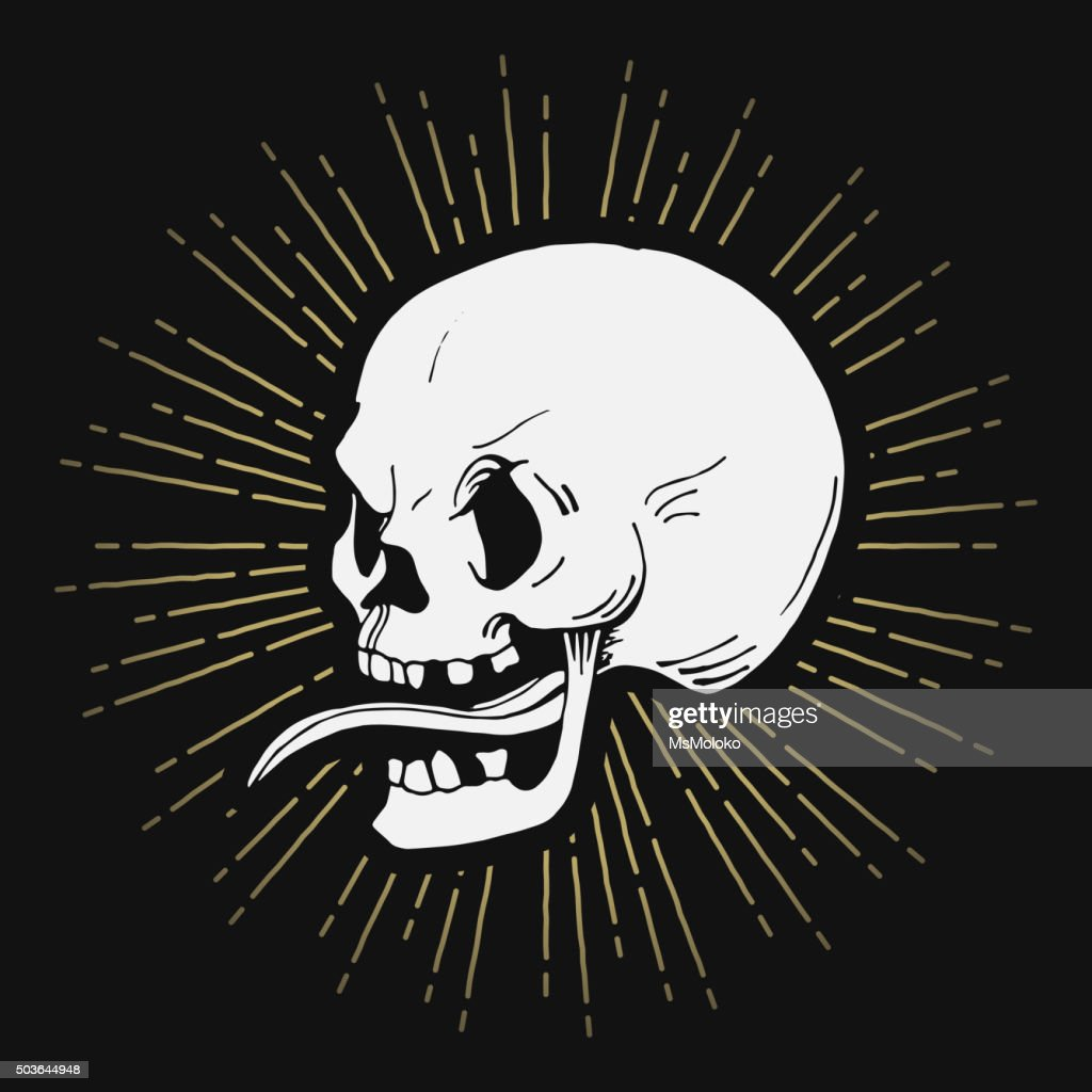 Retro hand drawn skull illustration with sunburst, vector