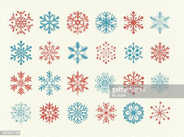 Retro Hand Drawn Snowflakes