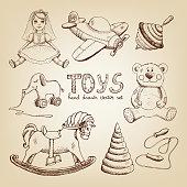 retro hand drawn toys