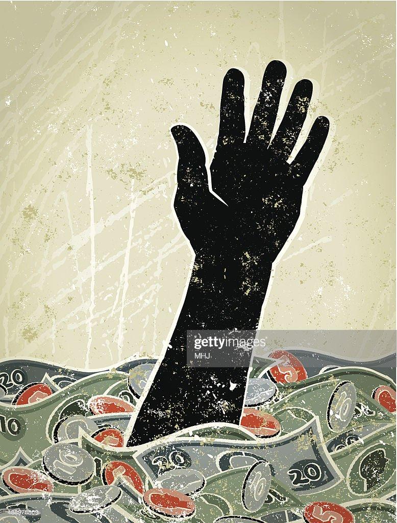 Retrò, mano affondare in un mare di soldi : Illustrazione stock