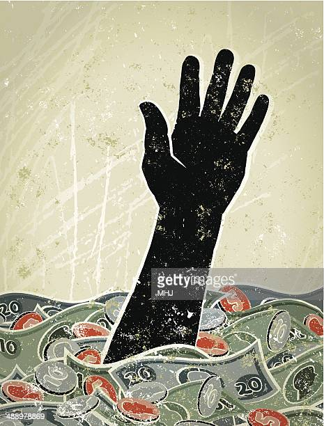 retro,  hand sinking in a sea of money - reaching stock illustrations