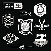 Retro Handmade, hand sewing and tailor shop logotypes set