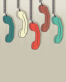 retro handset on dots background