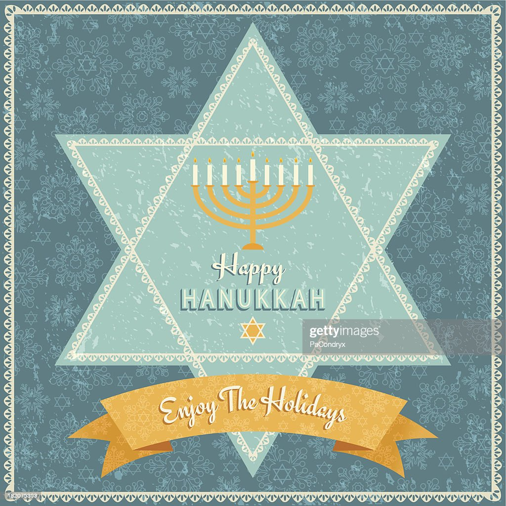 Retro Hanukkah Celebration Card : stock illustration