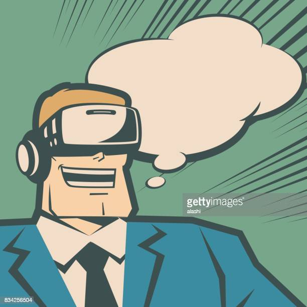 Retro happy macho businessman (man) wearing Virtual reality glasses (VR interface), smiling (laughing) with thought bubble