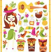 Retro Hawaiian Luau Party Set