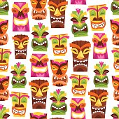 Retro Hawaiian Luau Party Tiki Seamless Pattern Background