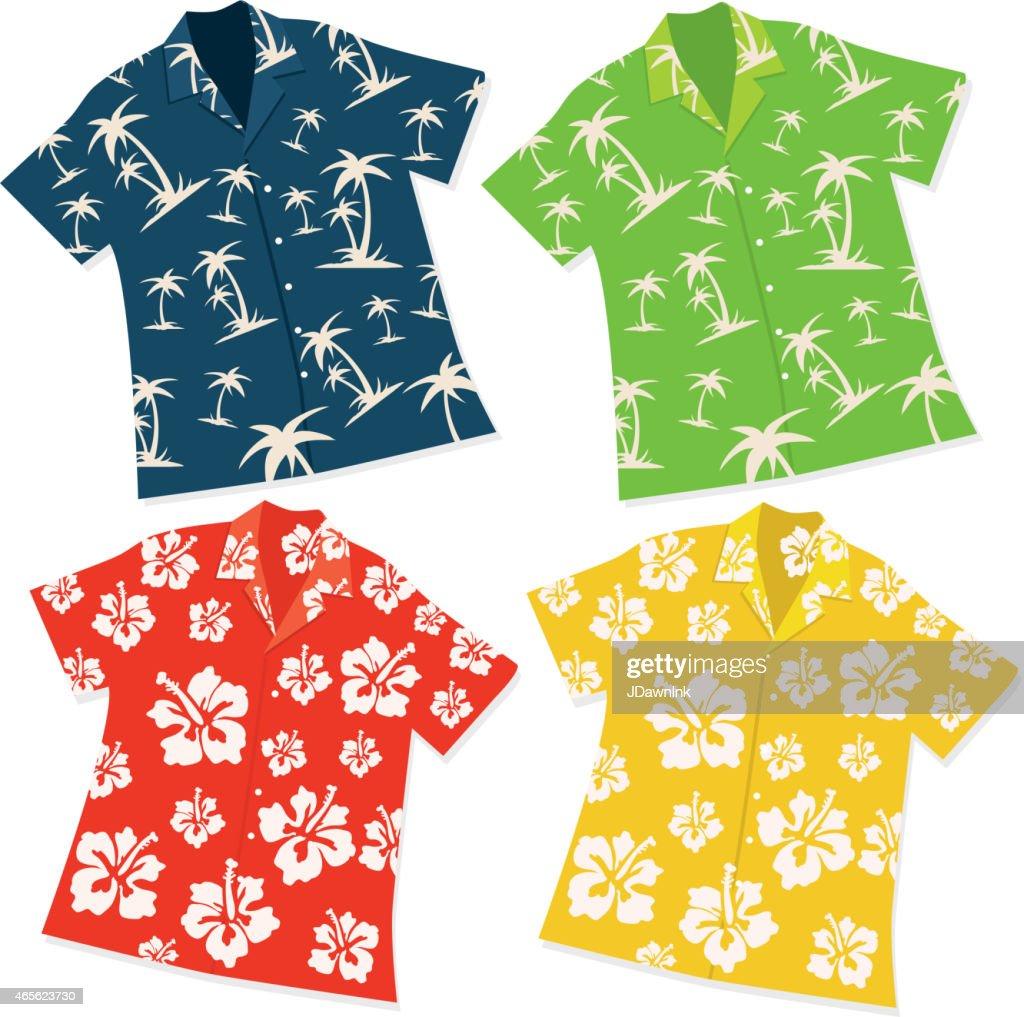 Retro Hawaiian Luau shirt set of four
