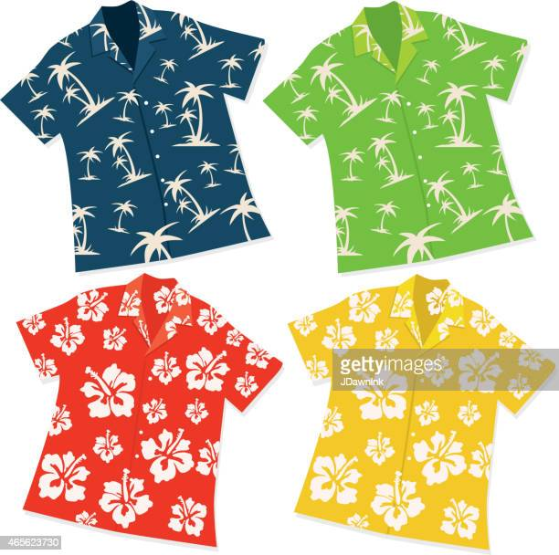 illustrazioni stock, clip art, cartoni animati e icone di tendenza di camicia hawaiana luau retrò, set di quattro - camicia