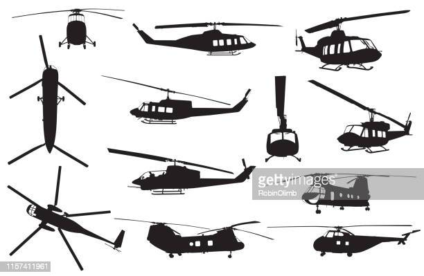 retro helicopter silhouettes - marines stock illustrations