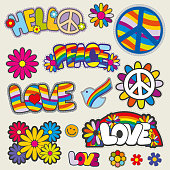 Retro hippie patches vector emblems