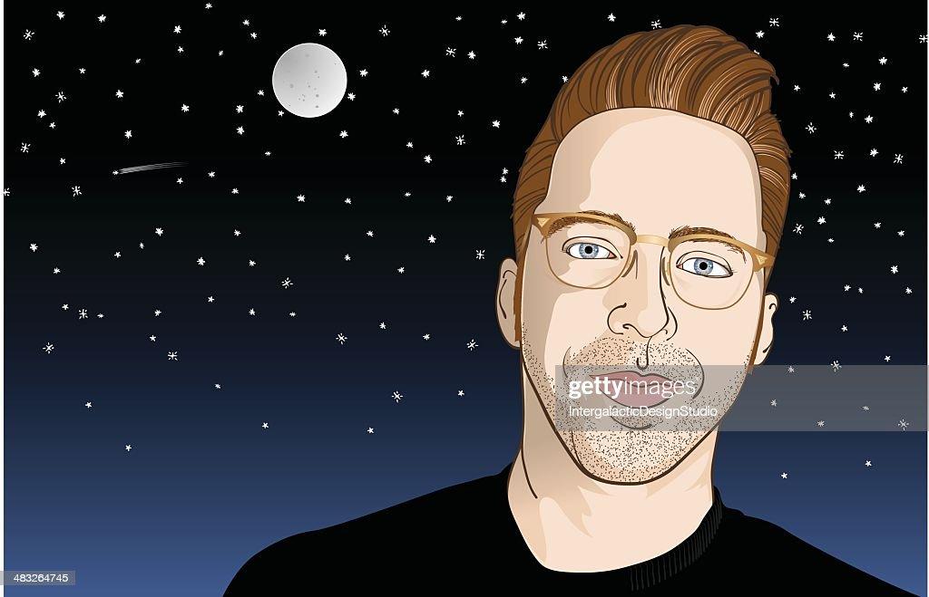 Retro Hipster at Night : stock illustration