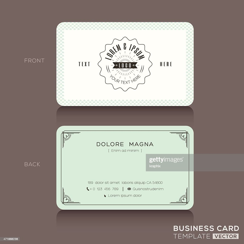 Retro hipster business card Template