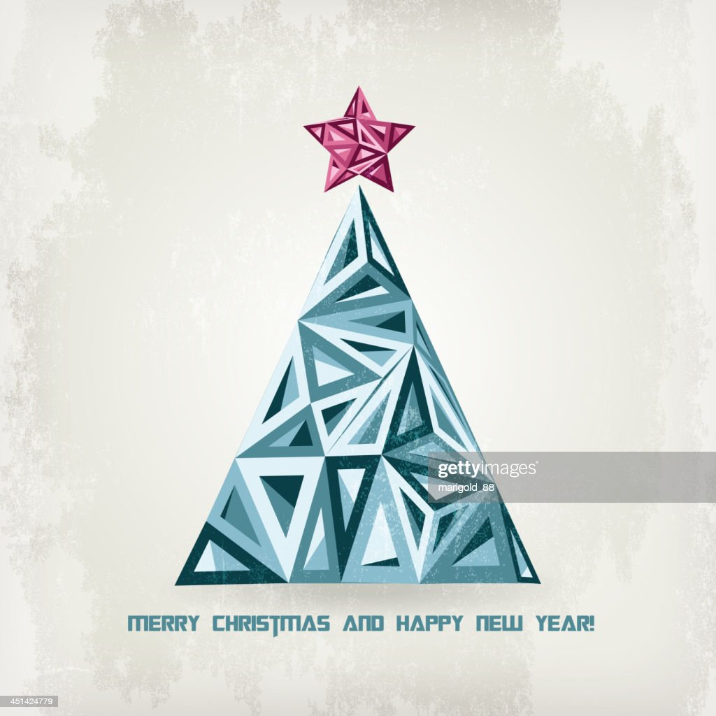 retro hipster christmas tree vector art getty images