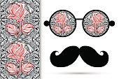 Retro hipster sunglasses with floral rose ornament and mustaches, seamless