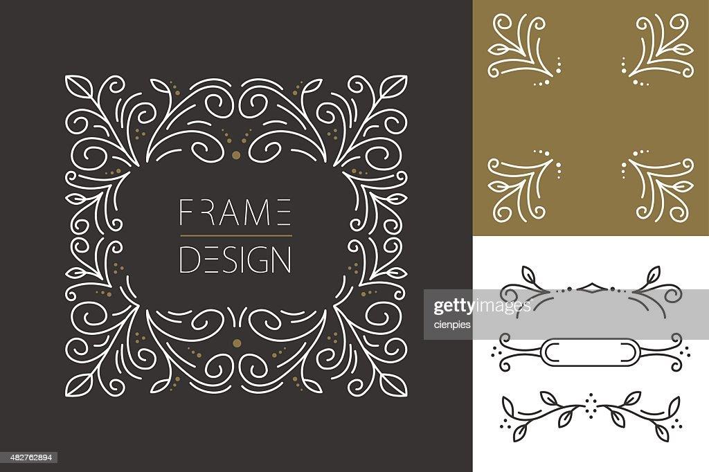 Retro hispter monogram frame set design