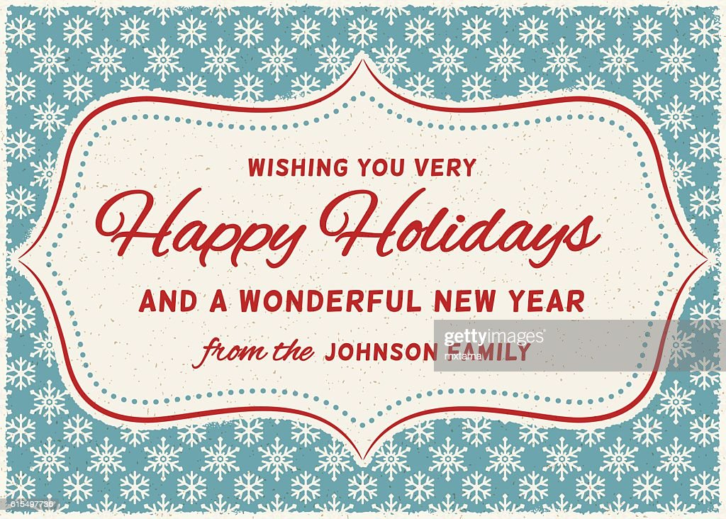 Retro Holiday Card with Copy Space Over Snowflake Pattern