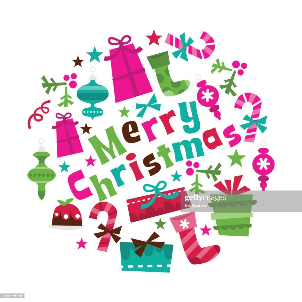 Retro Holly Jolly Christmas Merry Christmas Phrase Vector Art ...