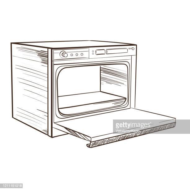 モノクロスケッチスタイルのレトロな家庭用調理器 - オーブン点のイラスト素材/クリップアート素材/マンガ素材/アイコン素材