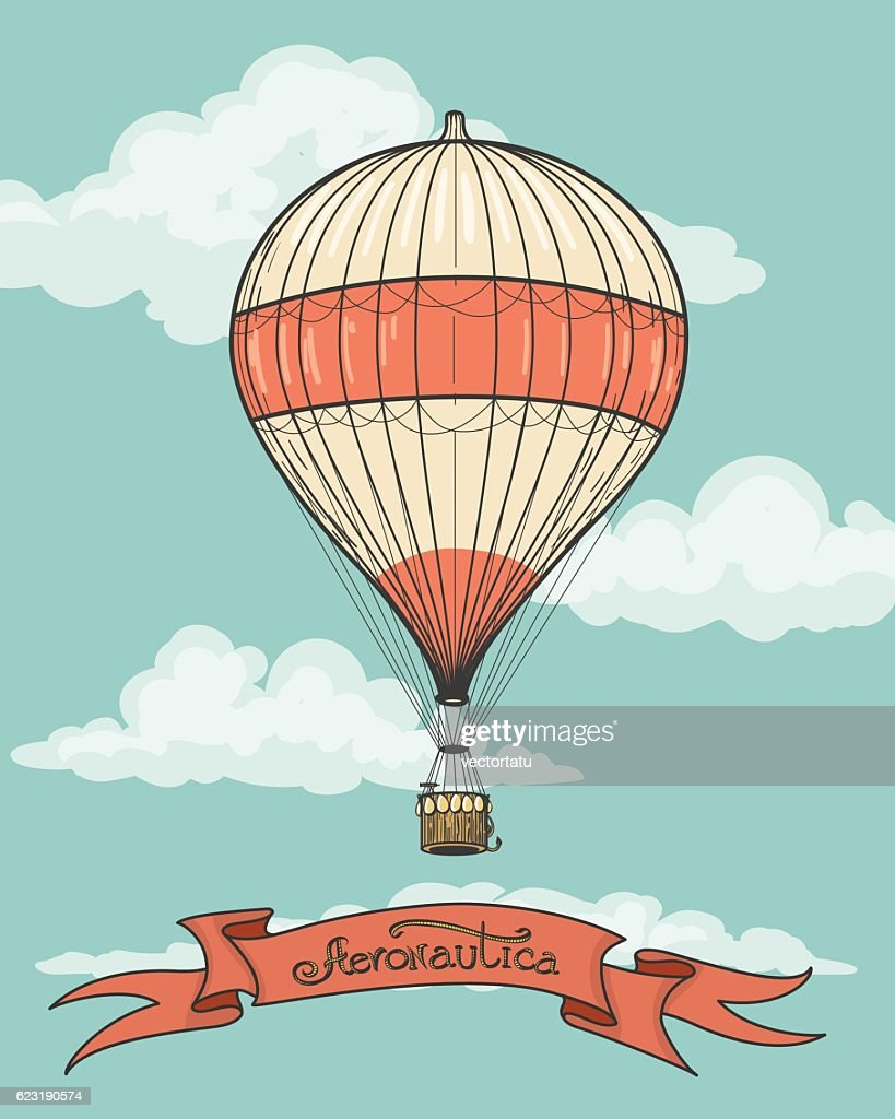 Retro hot air balloon with ribbon