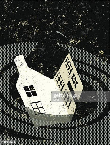 Retro,  House sinking in a vortex or whirlpool