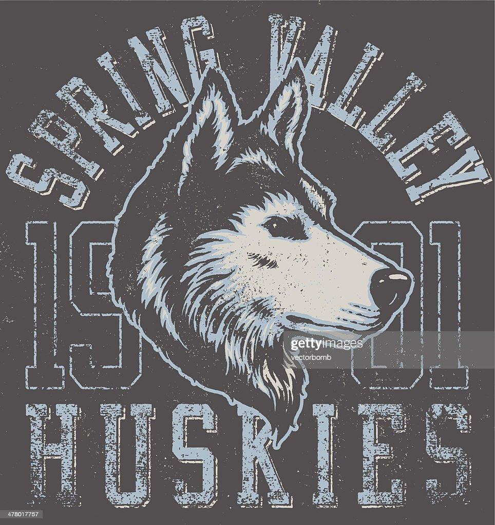 Retro Huskies Mascot Design