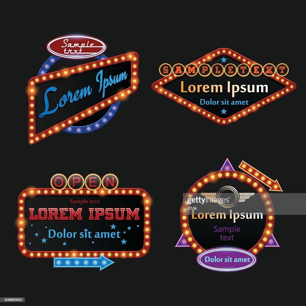 Retro illuminated marquee set