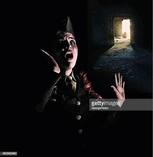 Retro Illustration of a Frightened Woman Soldier