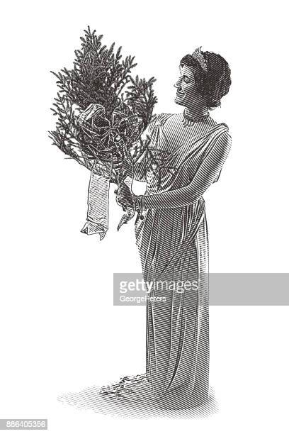 retro illustration of a woman wearing vintage fashion and holding a christmas tree - classical style stock illustrations, clip art, cartoons, & icons