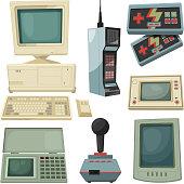 Retro illustrations of technicians gadgets. Vector pictures