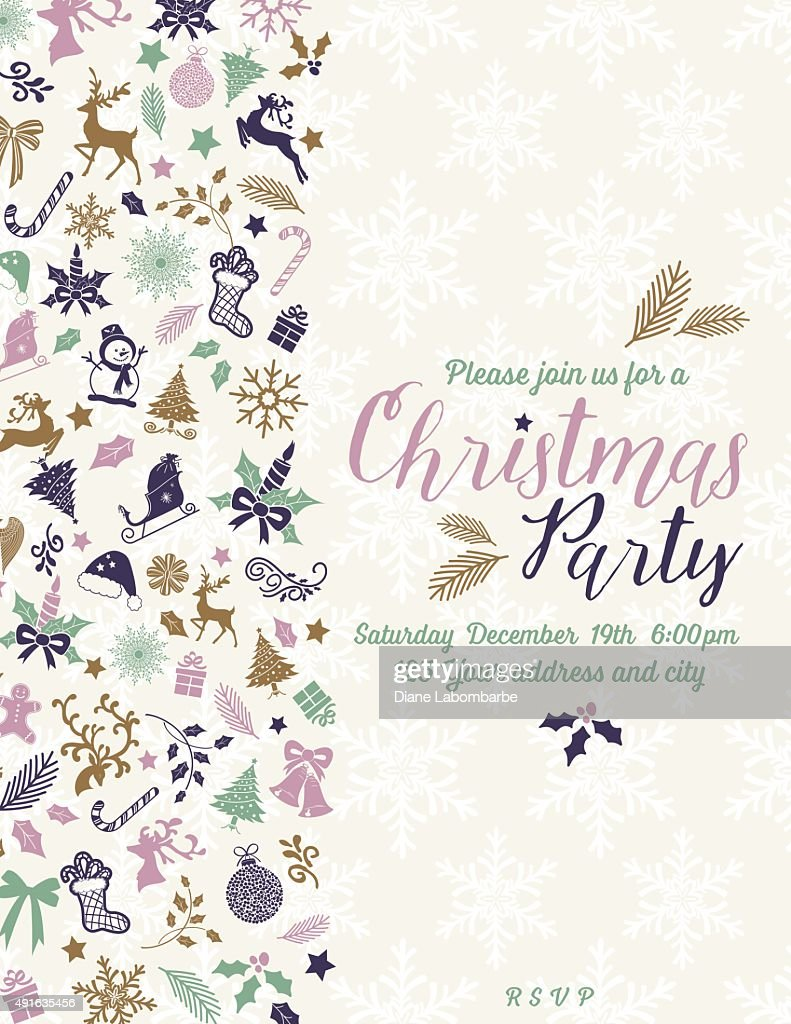 Retro Inspired Christmas Party Invitation Template Vector Art ...