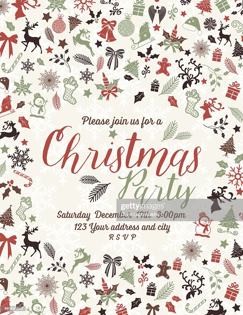 Retro Inspired Christmas Party Invitation Template : Vector Art