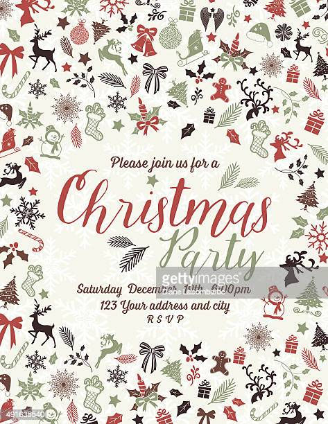 Retro Inspired Christmas Party Invitation Template