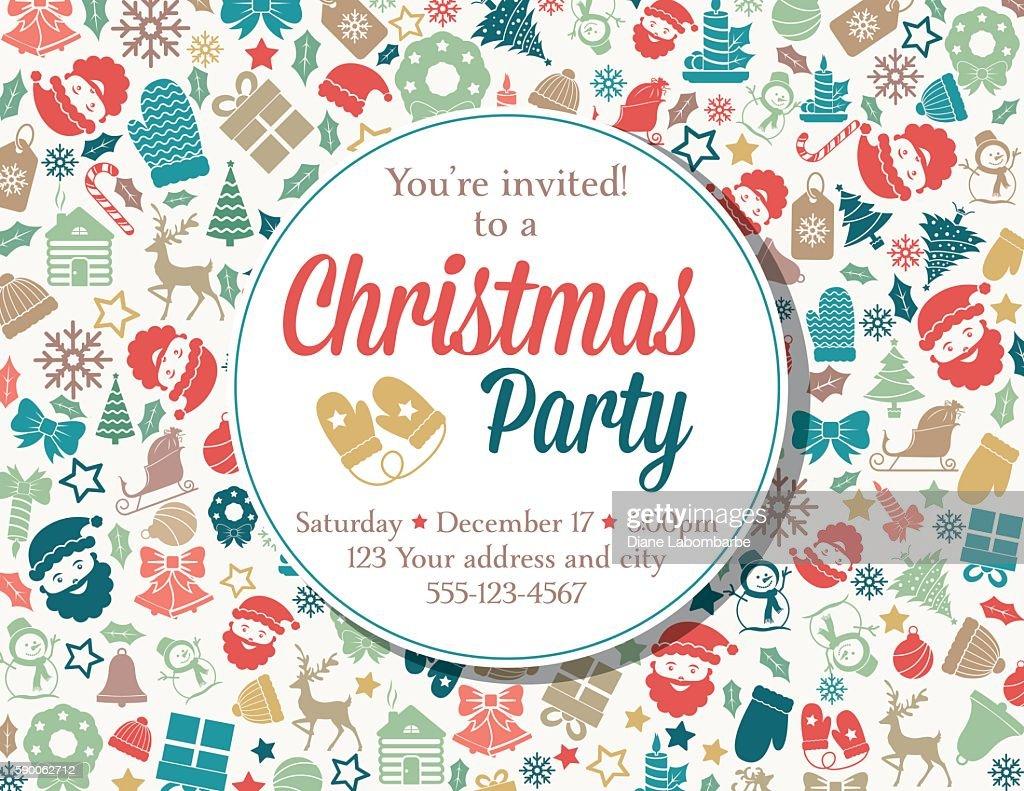 retro inspired christmas party invitation template vector art