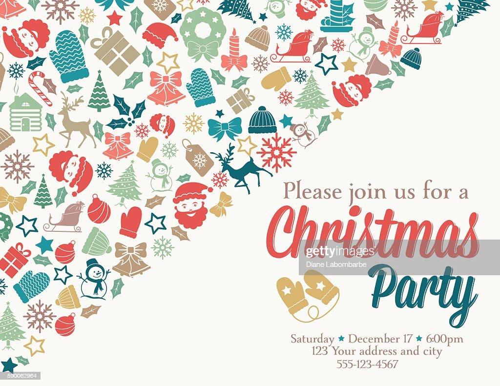 Retro Inspired Christmas Party Invitation Template Vector Art ...