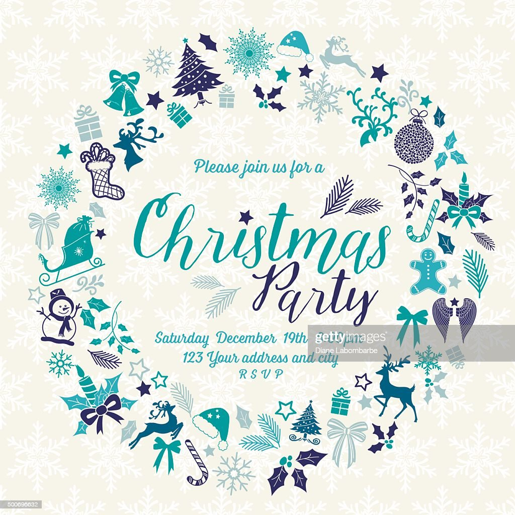 Retro Inspired Christmas Party Invitation Template Wreath Vector ...