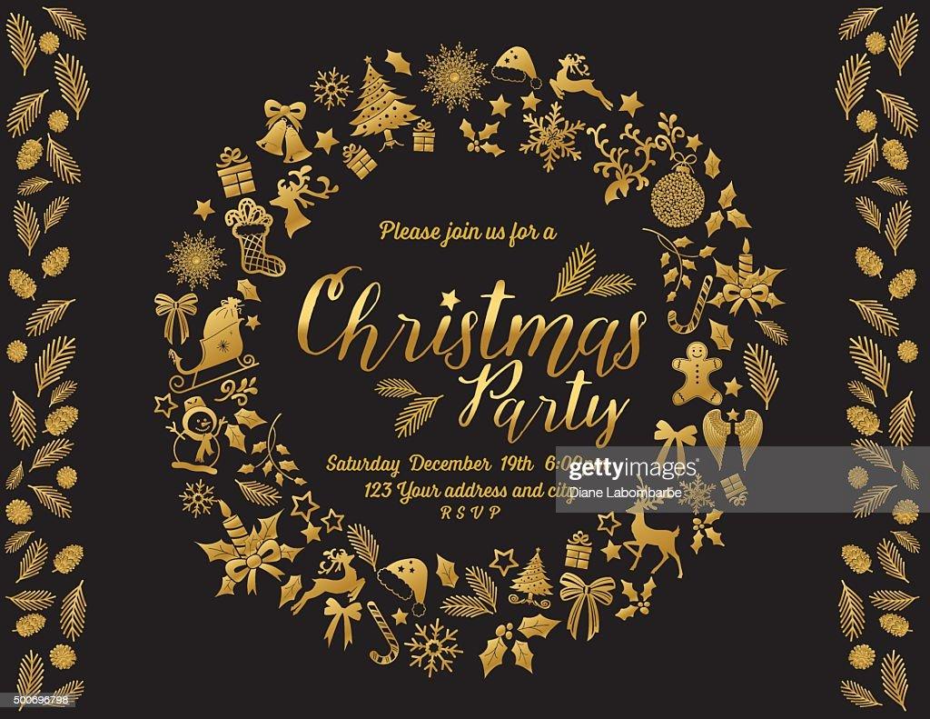 レトロなクリスマスパーティの招待状テンプレートのリース ベクトル