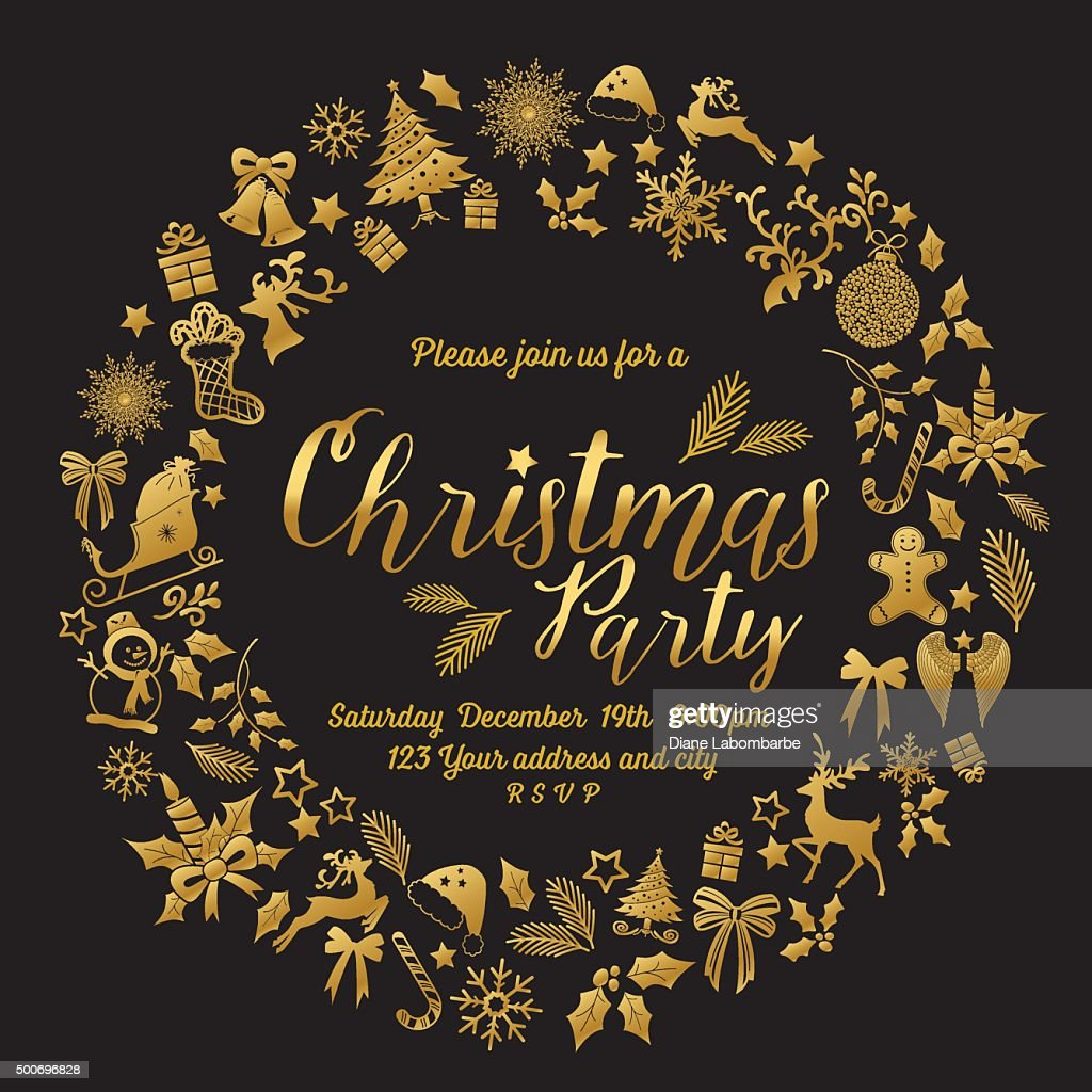 Retro Inspired Christmas Party Invitation Template Wreath Stock